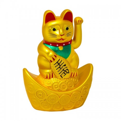 Манэки-нэко на чаше богатства 10 см золотой