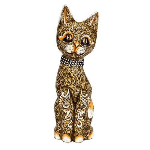 Кошка 30 см ожерелье стразы растительный узор роспись мазками карамельная дерево албезия