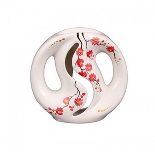 Аромалампа Инь Ян 11х10 см Цветы белая керамика