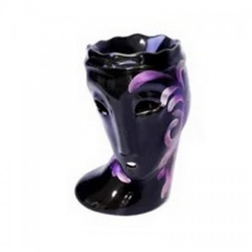 Аромалампа Маска 15 см фиолетовый узор черная керамика