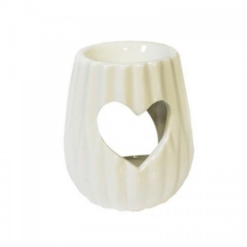 Аромалампа Сердце 10 см белая керамика