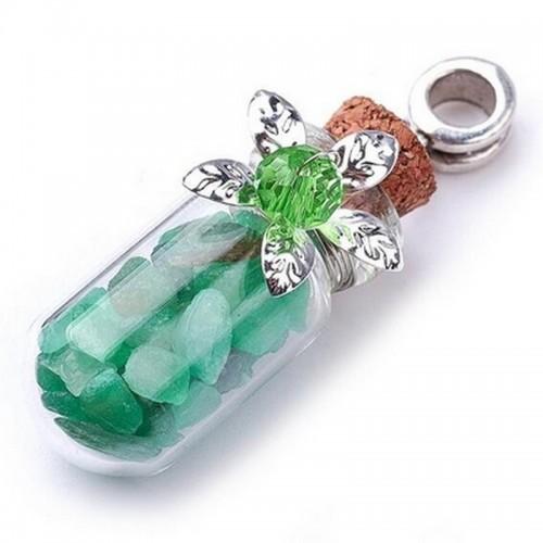 Аромафлакон с натуральным камнем Зелёный авантюрин 4,6см