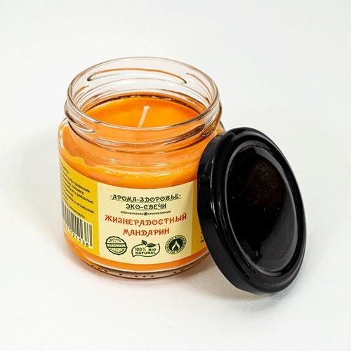Свеча ароматическая в банке Жизнерадостный мандарин воск ароматизатор стекло фитиль