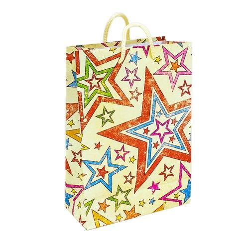 Пакет подарочный 14х20 см Праздничные звезды бумага