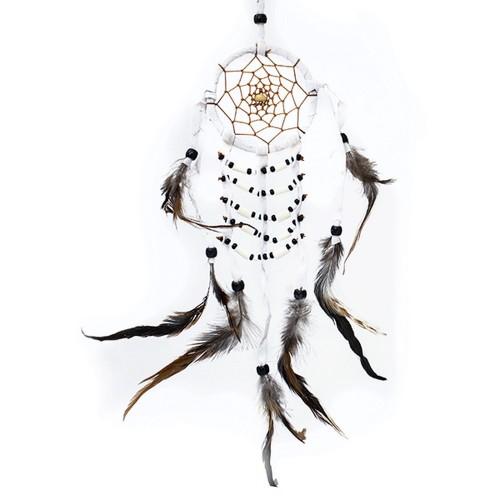 Ловец снов 8х40 см кость с перьями белый