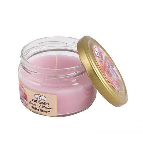 Свеча ароматическая в банке Тюльпаны (Spring Flowers) 8 см розовая