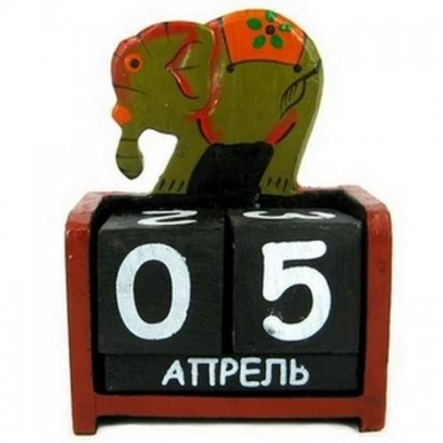 Календарь Слон, дерево 10х14см