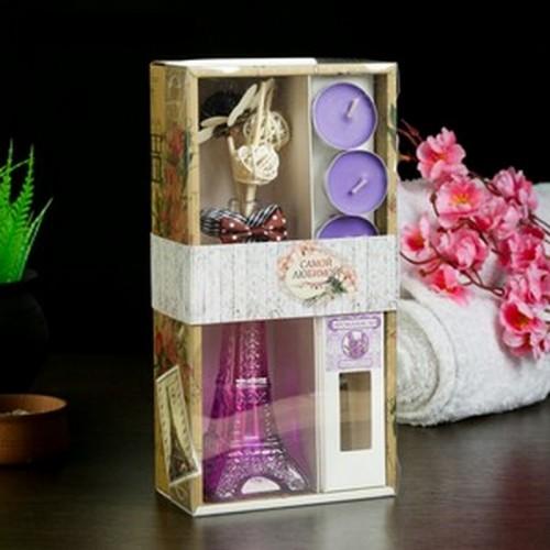 "Набор подарочный ""Эйфелева башня"" (2 палочки, 3 свечи ,декор,аромамасло 30 мл), Лаванда 8М"