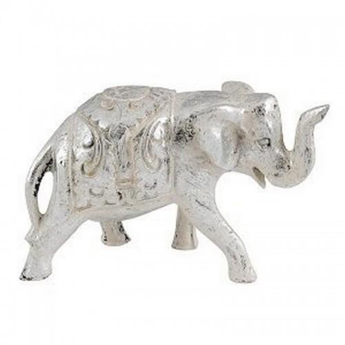 Слоник хобот вверх 13х9 см белое серебро
