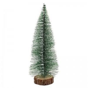 Елка декоративная 20 см зеленая пластик металл дерево