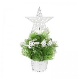 Елка декоративная со звездой 23 см зеленая с серебром пластик