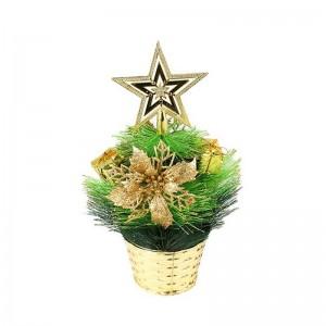 Елка декоративная со звездой 30 см зеленая с золотом пластик