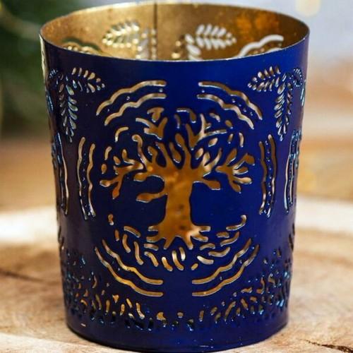 """Подсвечник сувенирный Индия """"Дерево"""", синий"""