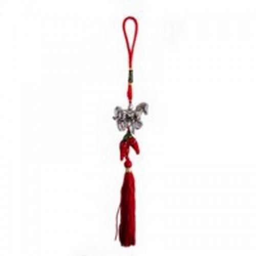 Амулет-Подвеска Лошадка серебро с перчиками 25см красный текстиль-металл