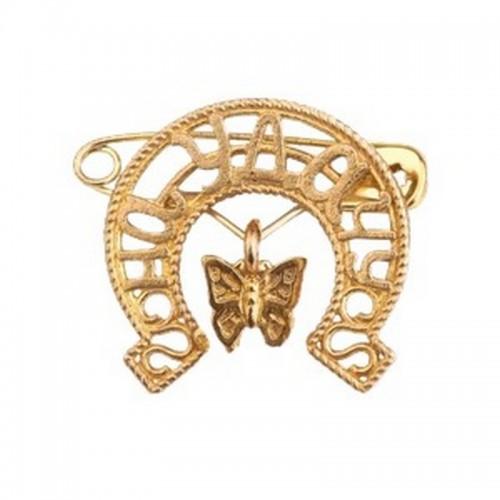 Булавочка На удачу 2,5 см Бабочка под золото металл