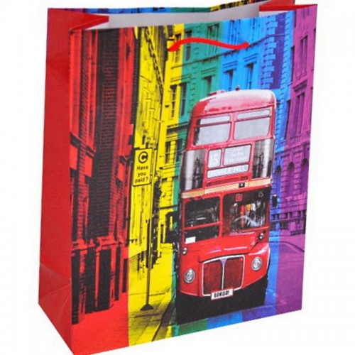 Пакет подарочный 18х23 см Двухэтажный автобус бумага