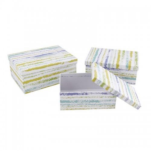 Подарочная коробка Разноцветные полосы картон сред.