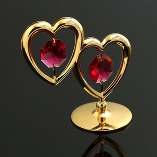 Сувенир «Два сердца», 6×3,2×5,5 см, с кристаллами Сваровски