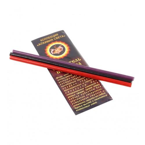 Свечи восковые ритуальные 3 шт Сжигатель негатива 18 см черная фиолетовая красная пчелиный воск