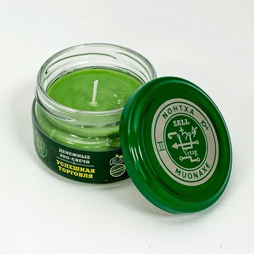 Свеча магическая Успешная торговля зеленая пальмовый воск стекло фитиль