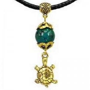 Амулет На здоровье и долголетие (черепаха) с натуральным камнем хризоколла, золот.