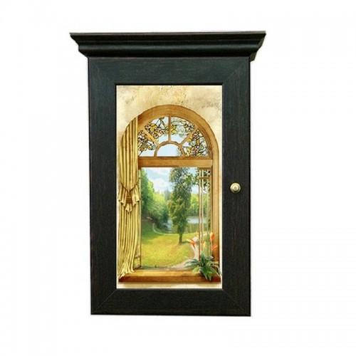 Ключница Классика на 5 крючков 20х28 см Окно в сад венге МДФ ПВХ металл