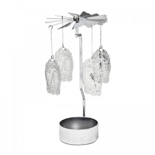 Подсвечник вращающийся Птички в клетке 14 см серебро