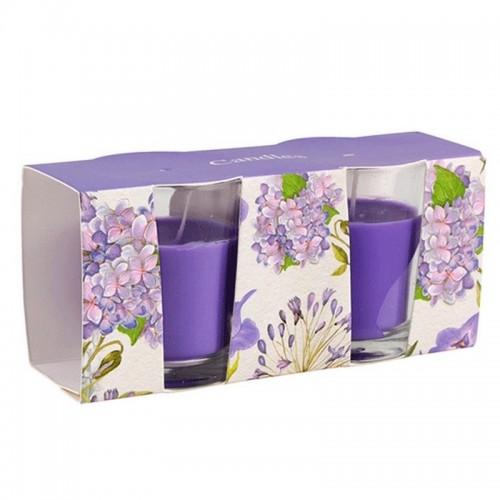 Свечи в стакане 2 шт аромат Весенний букет 6 см пурпурные парафин стекло фитиль
