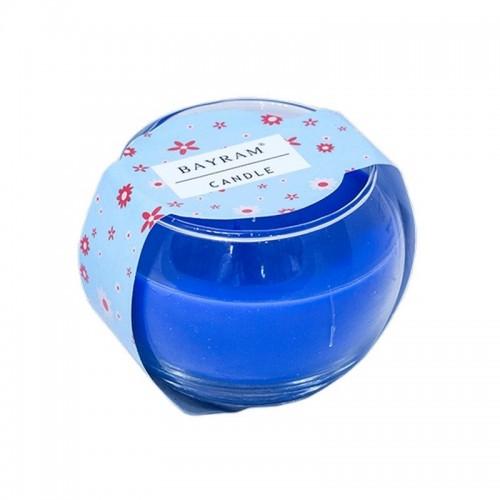 Свеча в стакане7 см аромат Весенний букет синяя