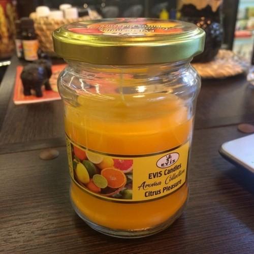 Свеча ароматическая в банке Цитрусы (Citrus Pleasure) 10 см оранжевая