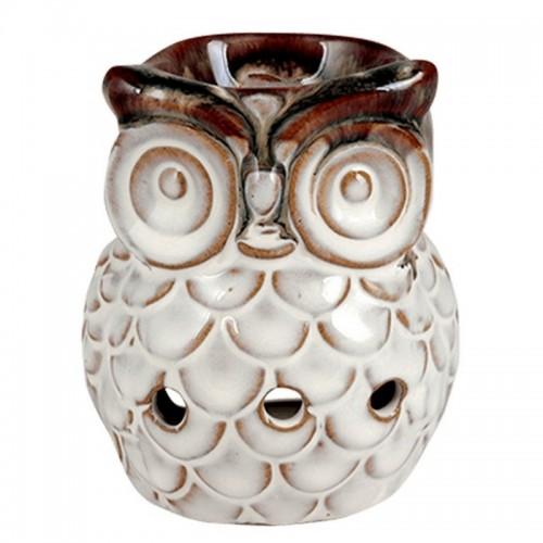 Аромалампа Сова 9х8 см бежевая керамика