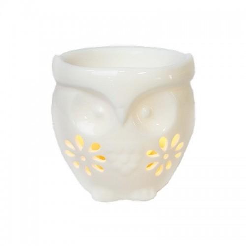 Аромалампа Сова резная 10х9 см белая керамика