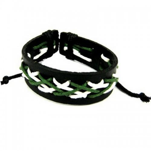 Браслет из искуственной кожи с белой и зеленой шнуровкой