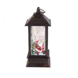 Новогодний фонарик Дед Мороз и новогодний лес 15 см подсветка под бронзу