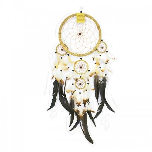 Ловец снов 5 колец 22х70 см с перьями бежевый