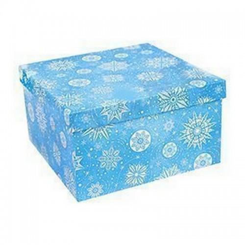 Подарочная новогодняя коробка 10х10 см Снежинки бело-голубая картон